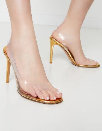 ALEXANDRE VAUTHIER - Złote sandały Amber Ghost kolor Złoty