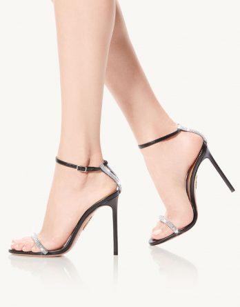 AQUAZZURA - Czarne sandały na szpilce Moon Crystal kolor Czarny