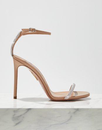 AQUAZZURA - Sandały na szpilce Moon Crystal kolor Nude / Beżowy