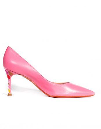 BALDININI - Różowe szpilki z ozdobnym obcasem kolor Różowy / Fioletowy