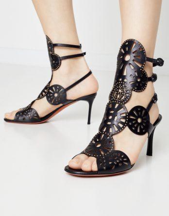 BALDININI - Skórzane sandały na szpilce kolor Czarny