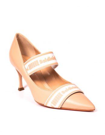 BALDININI - Skórzane szpilki z logowanymi gumami kolor Nude / Beżowy