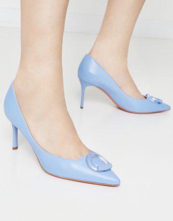 BALDININI - Skórzane szpilki z ozdobnym logo kolor Niebieski / Granatowy