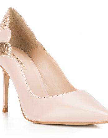Buty damskie kolor beżowo - złoty