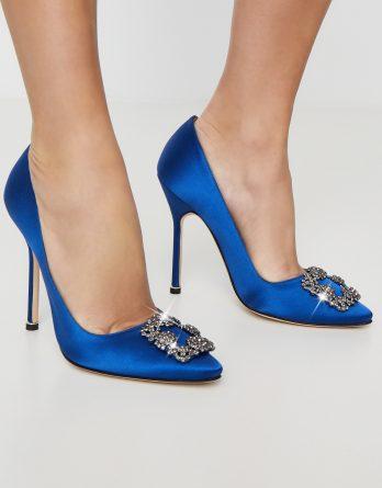 MANOLO BLAHNIK - Niebieskie szpilki Hangisi 11.5 cm kolor Niebieski / Granatowy